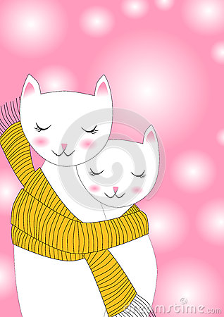 Free Cats Sharing Scarf Greeting Card Stock Photography - 27624222