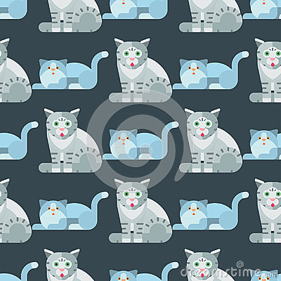 Cats vector illustration cute animal seamless pattern funny decorative kitty characters feline domestic trendy pet Vector Illustration