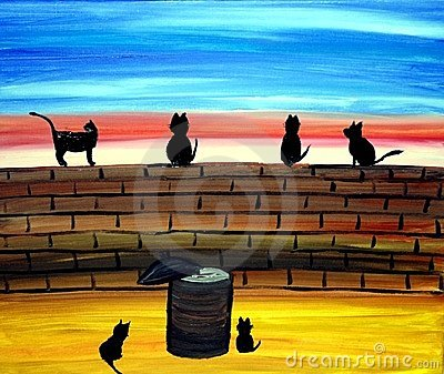 Cats on a Wall Art