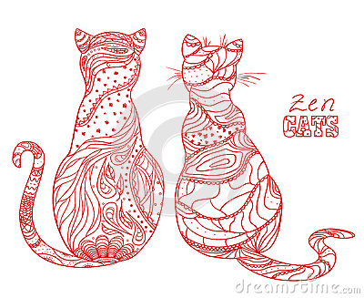 Cats. Zen art Vector Illustration