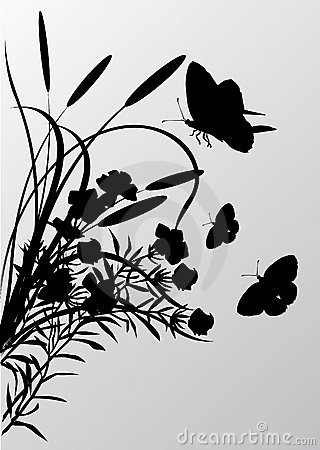 Cattail and butterflies silhouettes