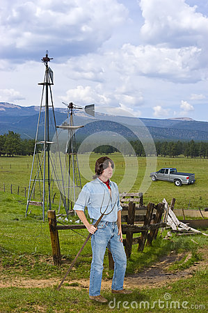 Cattle Ranch Hand in the West, Man Working