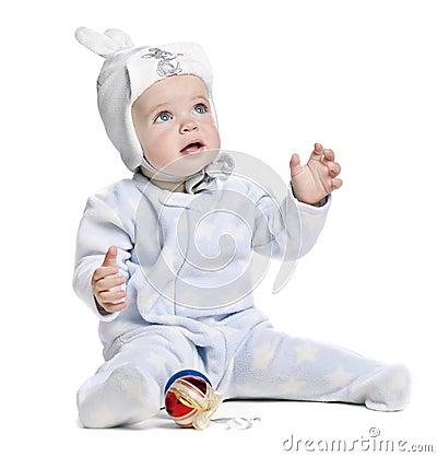 Caucasian baby boy in a cap