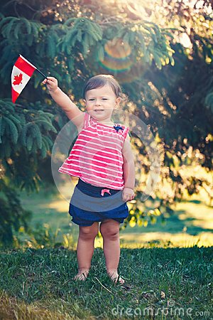 Free Caucasian Baby Girl Holding Canadian Flag With Red Maple Leaf Royalty Free Stock Images - 118279119