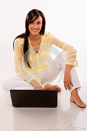 Caucasian beauty with her laptop