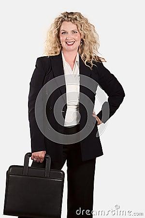 Caucasian blonde business woman