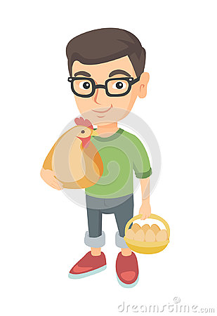 Caucasian boy holding a chicken and hen eggs. Vector Illustration
