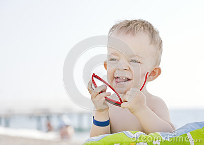 Caucasian boy with sunglasses