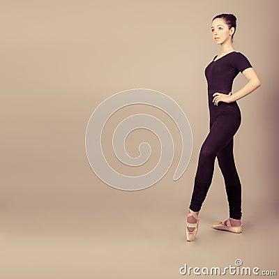 caucasian brunette ballerina girl