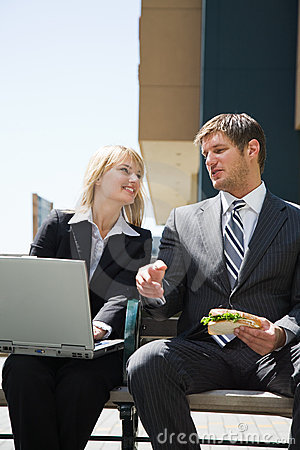 Caucasian business people having discussion
