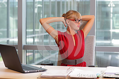short break for exercise on chair in office stock photo image - Office Chair For Short Person