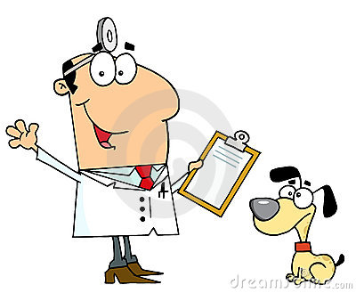 Caucasian cartoon dog veterinarian man