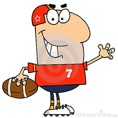 Caucasian cartoon football man