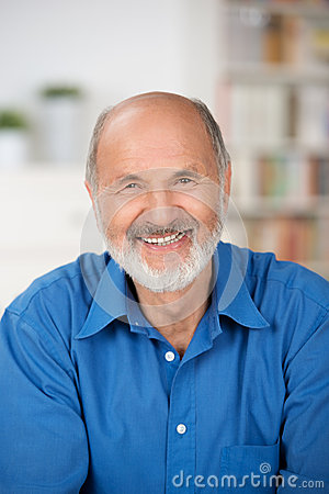 Caucasian cheerful bearded senior man smiling