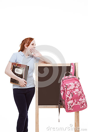 Caucasian college student backpack by blackboard