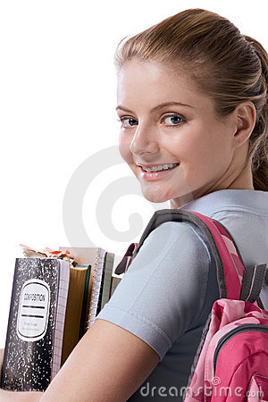Free Caucasian College Student With Backpack Notebooks Stock Photos - 8745223