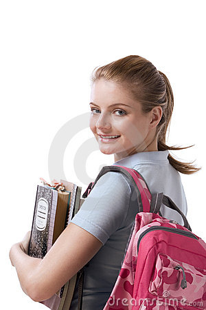 Free Caucasian College Student With Backpack Notebooks Stock Photography - 9123582
