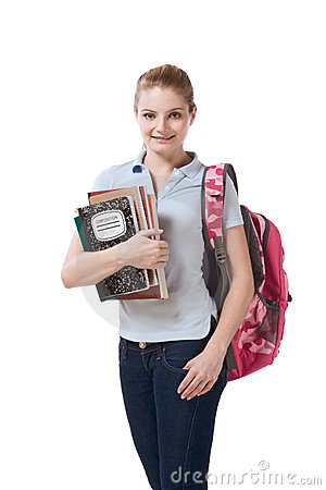 Free Caucasian College Student With Backpack Notebooks Stock Photo - 9700200