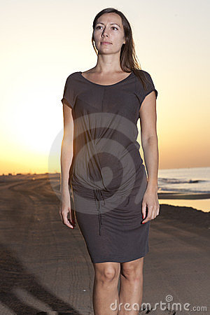 Caucasian female model on the beach