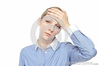 Caucasian female touch the head