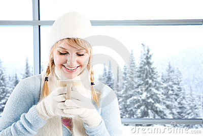 Caucasian girl drinking coffee