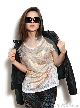 Girl in a leather jacket and sunglasses