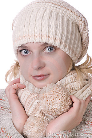 Caucasian girl in winter clothing