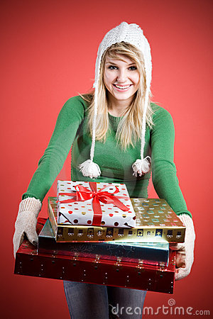 Caucasian girls with gifts