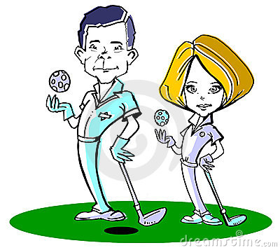 Golfer Couple Cartoon