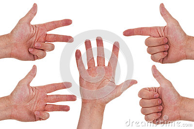 Caucasian hands counting from one to five