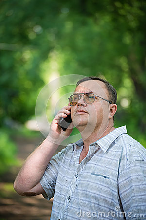 Caucasian man with cell phone