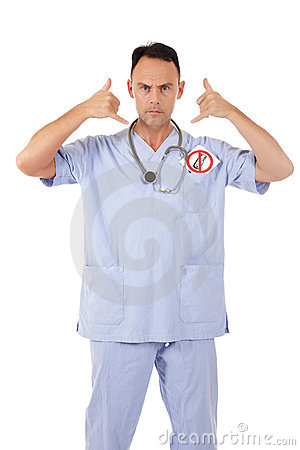 Caucasian man doctor no telephone