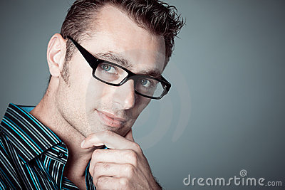 Caucasian man with glasses