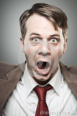 Caucasian Man Screaming Angry Portrtait