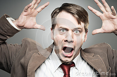 Caucasian Man Screaming Angry Portrtait