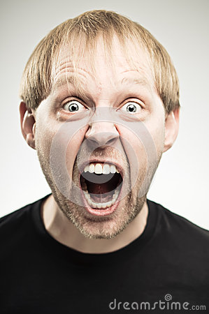 Caucasian Man Screaming Portrait