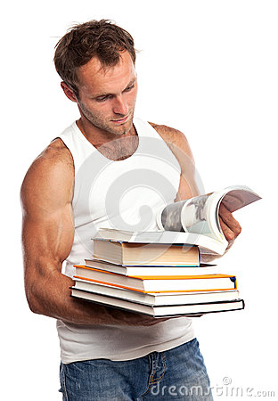 Caucasian man with a stack of books