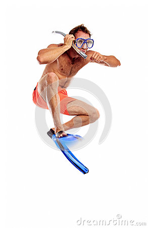 Caucasian swimmer in mask, snorkel and flippers