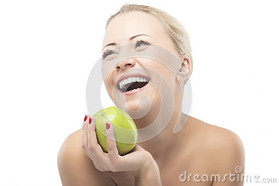 Caucasian Woman Dieting and Eating Apple. Healthy Lifestyle, Nut Stock Photo