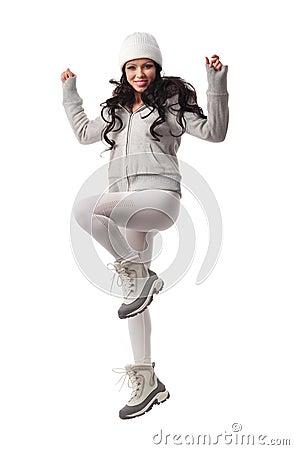 Caucasian woman dynamic jump portrait