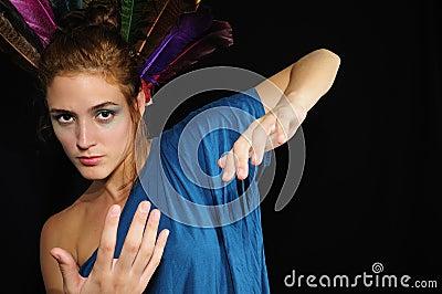 Caucasian woman gesturing