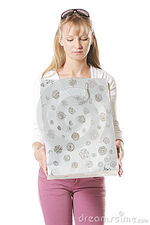 Caucasian woman looking into bag