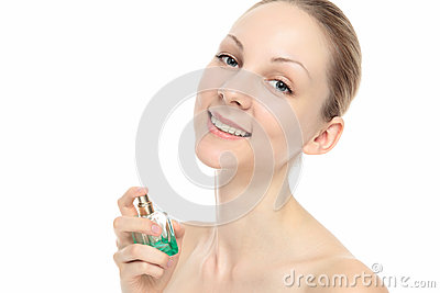 Caucasian woman with perfume