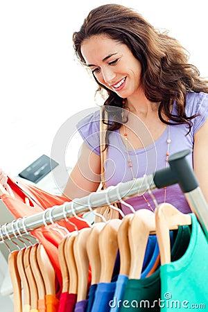 Caucasian woman selecting items