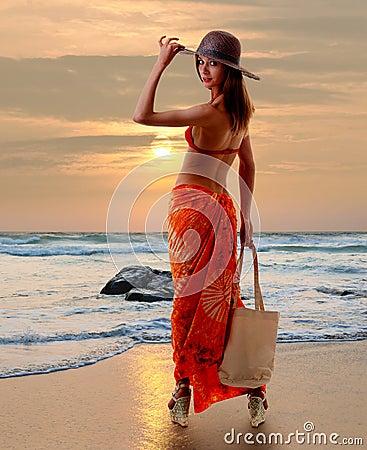 Caucasian woman standing in bikini