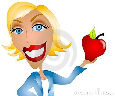Caucasian Woman Teacher Apple
