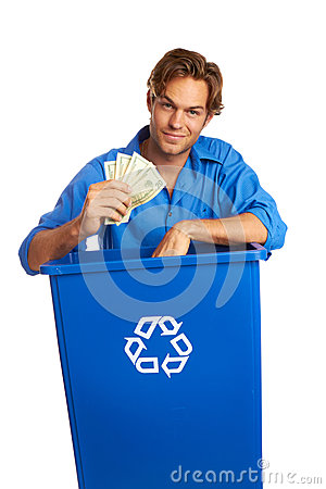 Caucasion Male With Recycle Bin Holding Money