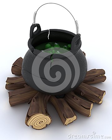 Cauldron of eyeballs on log fire