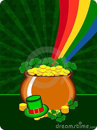 A cauldron with gold coins and hat