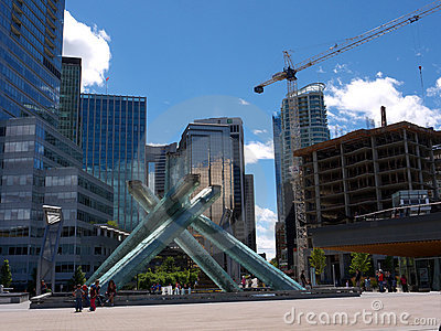 The Cauldron monument in Vancouver downtown Editorial Stock Photo